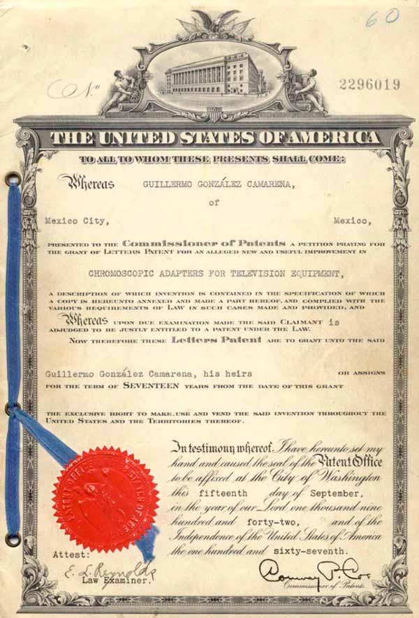 Patente norteamericana de la televisión a color de Camarena