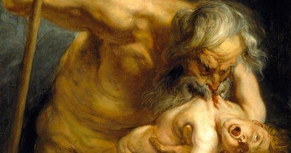 Obra renacentista Cronos devorando a sus hijos (Saturno en la mitología romana)