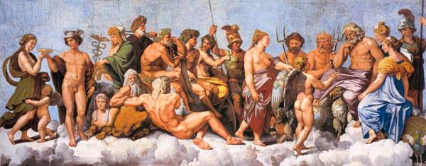 Los dioses olímpicos representados en la obra Logia di Psiche