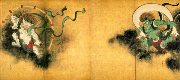 Raijin y Fujin, los dioses del trueno y el vieno en la mitología japonesa