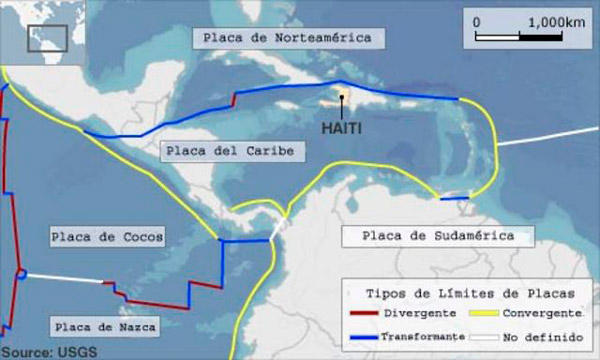Ubicación de Haití con respecto a las placas tectónicas