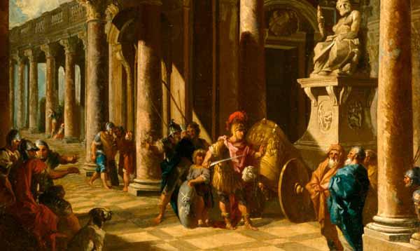 Representación de Alejandro Magno y el nudo gordiano