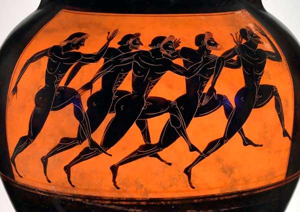 Ilustración en jarrón griego de la carrera a pie de las primeras Olimpiadas